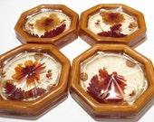 Vintage Coasters Resin Dried Straw Flower Coasters