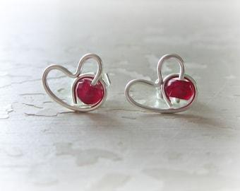 Valentines Day, Heart Earrings, Garnet Earrings, Garnet Heart Studs, January Birthstone, Sterling Heart Studs,Love Earrings, Heart Jewelry