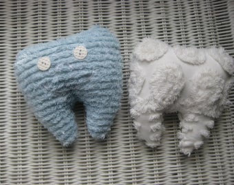 Tooth Fairy Pillow, Vintage Chenille Bedspread, Blue & White