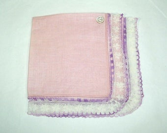 Handkerchief, Pink Linen with Lavender Crochet and Lace Hem, Made in Ireland