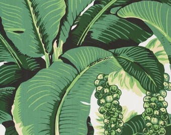 Brazilliance Fabric - Dorothy Draper - Banana Leaf Fabric - FREE SHIP - Palm Leaf Fabric - Beverly Hills Hotel - Palm Print