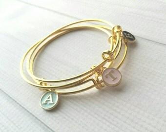 Gold Monogram Bangle - adjustable stacking bracelet - simple charm letter initial in mint pink black - minimalist slide trendy double loop