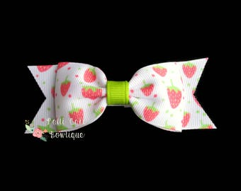 Strawberry Pigtails/Farmers Market Strawberry Hair Bows for Girls/1st Birthday Strawberry Shortcake Hair Bow/Hairbows/Strawberry Hair Clip