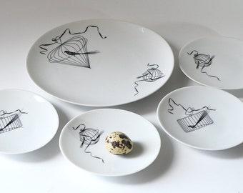 Vintage Birdcage Plates Papageno Raymond Loewy Johann Haviland