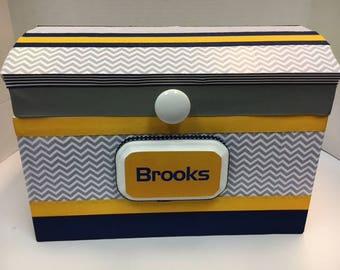 Boys Birthday Time Capsule Storage Chest- custom colors