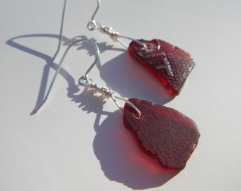 Red Sea Glass Earrings ~ Sterling Silver ~ Rare Sea Glass