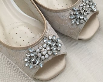Lace Wedding Flats - Champagne Wedding Shoes - Lace Wedding Shoes - Lace Flats - Crystal Wedding Shoes - Custom Wedding Shoe Choose Color