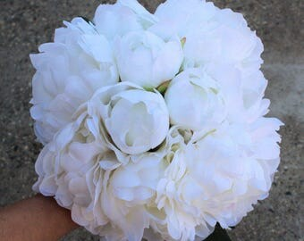 Set of 6 - White / Cream Silk Flower Bouquet, Bridal, Bridemaid, Floral, Wedding, Faux, Peony, Simple, Elegant, Rustic, Organic, Vintage
