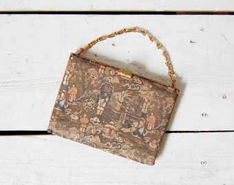 vintage 1940s purse / 40s chinoiserie purse / asian brocade bag / Ming-Na purse