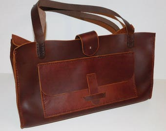 Leather Shoulder Tote Bag, Brown Leather Tote Bag, Mom's Gift