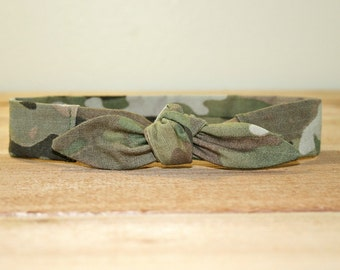 Army Baby Headband with Tie Hairbow Military Multicam Camo