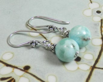 Larimar and Sterling Silver Dangle Earrings on Sterling Ear Wires