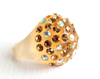 Vintage Retro Rhinestone Dome Ring - Celluloid Acrylic - Amber Butterscotch - Translucent Amber - Size 8