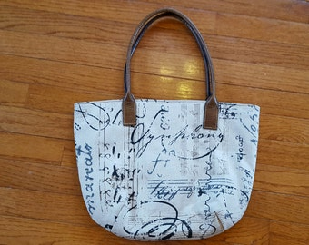 Script Fabric Handbag Purse Shoulder Bag