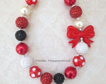 Black and Red Baby Necklace, Girl Necklace, Toddler Necklace, Bubblegum Necklace, Girl Bead Necklace, Necklace for Girls, Girl Jewelry