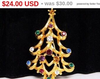 Monet Christmas Tree Brooch - Rhinestone Christmas Tree - Winter Holiday Pin - Opened Work Designer Signed Christmas Pin - Multi Colored