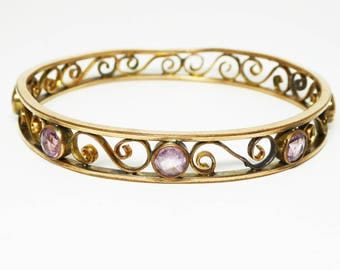 Art Deco Gold Filled Bangle Bracelet with Amethyst Purple Faceted Stones - Swirls and Curls Design - Vintage Early 1920's Art Nouveau Style