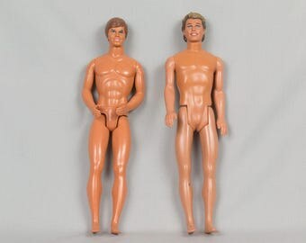 Two Vintage Ken Dolls Molded Brown Hair with Blue eyes, Smiling, Excellent condition