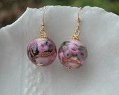 Pink Murano Round Fiorato Earrings
