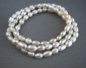 White Freshwater Pearl Stretch Bracelet Set White Pearl Bridesmaid Bracelets Pearl Wedding Bracelets