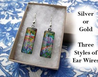 Monet flower garden earrings, Monet earrings, small glass earrings, irises, impressionist earrings, floral earrings, colorful earrings