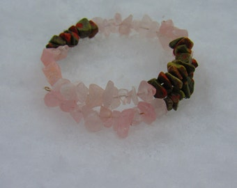 Rose Quartz and Unakite Bracelet, Healing Stones Bracelet, Chakra Jewelry, Natural Gemstone Synergy Bracelet