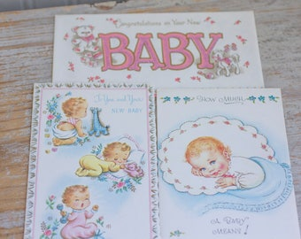 Vintage New Baby Greeting Cards - 1940s 50s Baby Gift, Pink Blue, Boy Girl, Collectible Paper Ephemera