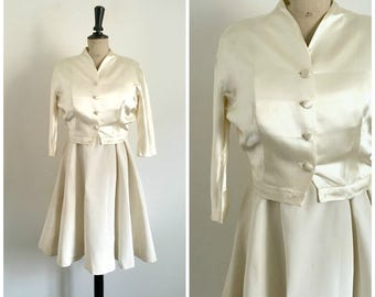 Vintage 50's Beige Midi Coktail Bridal Dress and Satin Bolero Set / Medium Size