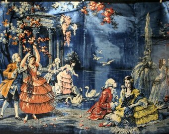 XL 70's era British Colonial American Revolution Napoleonic royal classic period 1700's scene colorful thick carpet wall hanging tapestry