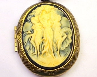 Cameo Locket, Three Muses, Ivory, Onyx Black Cameo, Goth,Three Dancing Graces,Antiqued Gold Tone Locket,Dancing Sisters,Three Sisters Cameo