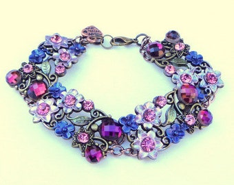 Midnight Garden Bracelet, Shades of Purple, Chocolate Gold Plated Chain, Crystal Flower Garden, Victorian Style, Edwardian Fantasy,OOAK