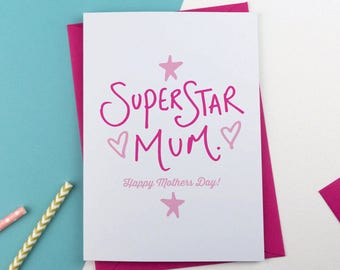 You're a superstar Mother's Day Card, Mothersday Card, Card for Mum, card for Mom