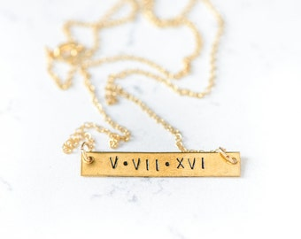 Bar necklace gold or Sterling Silver Hand Stamped Layering stacking couples anniversary valentines day roman numerals