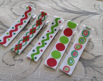 Christmas Hair Clip Set Of 5 Ready To Ship