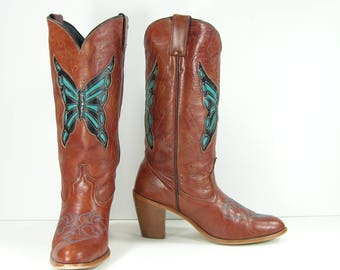 vintage cowboy boots women's 7.5 M B brown turquoise butterfly inlays dingo leather cowgirl western