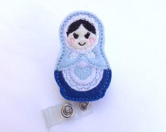 Badge Holder badge reel Retractable - My Little Babushka - blue white felt matryoshka russian doll - nurse teacher medical staff badge reel