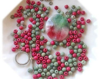 Candy Jade Wavy Oval Pendant, Pink Howlite Beads, Green Jade Beads,  DIY Jewelry Kit, Gemstone Beads,  Jewelry Making Beads, Bead Combo