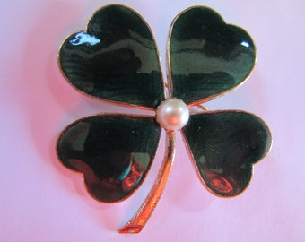 "2""  GUILLOCHE GREEN 4 leaf Clover Pin, 87a, 1950s vintage,  finished jewelry"