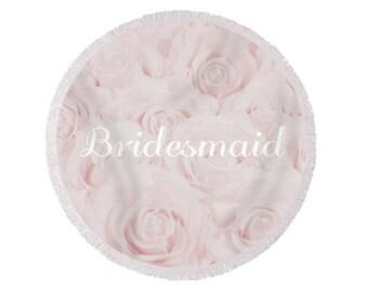 "Blush Pink ""Bridesmaid"" Round Beach Towel, large circle towel, gift for bridesmaid, bridesmaid gift, destination wedding- 1610PKBRIDESMAID"