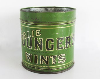 1920s-30s Charlie Younger's Candy Tin - Mint Tin - Metal Litho Tin - Kitchen Decor - Seattle