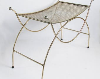 Mid-Century Hollywood Regency Style Metal Vanity Chair, Vanity Stool, Dressing Chair, Boudoir Chair, Curvy Metal Chair