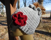 Crocheted Messy Bun/ Ponytail Beanie in Light Grey  with Detachable Flower in Red