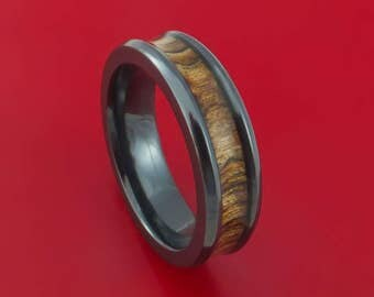 Black Zirconium and WOOD Ring inlaid in WALNUT WOOD Custom Made to Any Size and Optional Wood Type