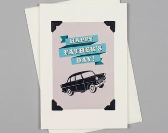 """Handmade Father's Day Card """"Happy Father's Day"""" in Vintage Style with Car"""