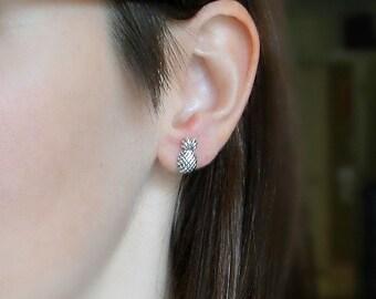 Pineapple earrings, small silver studs
