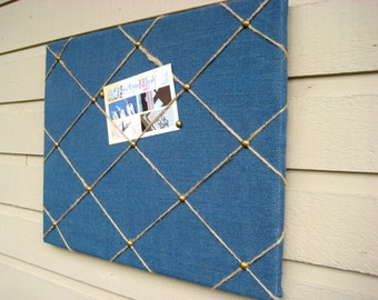 Country Chic Burlap Memo Board, Memory, Bulletin Board, tack board, with Jute twine and upholstery tacks