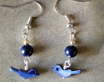 Little Lapis Bird Earrings