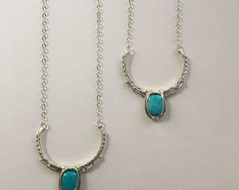 Sterling & Turquoise Crescent Necklace
