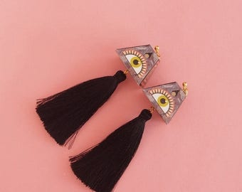 "SALE Tassel Earrings // Eye Earrings // LAST PAIR // Paper Earrings // Geometric Earrings // Statement Earrings The ""Expansions"""