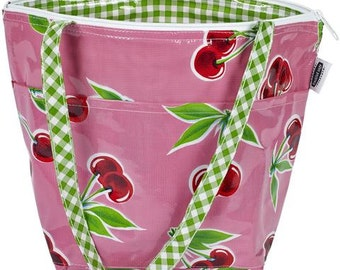 Cherry on Pink Oilcloth Insulated Lunch Bag with Shoulder Strap